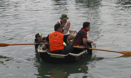 Korean divers in Callisto's dinghy