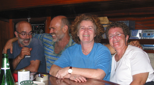 Antonino, Jose, Vesna and Jane aboard Vesna IV