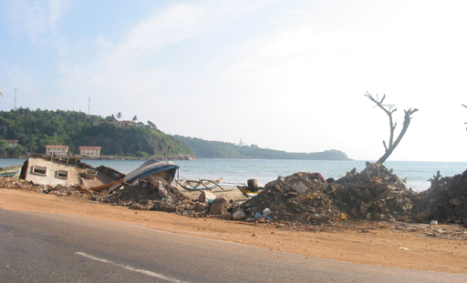 Damage at a fishing village
