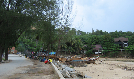 Fishing boats being repaired on Karon Beach, Phuket