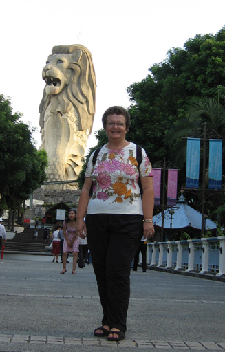 Jane in front of the Merlion statue on Santosa Island