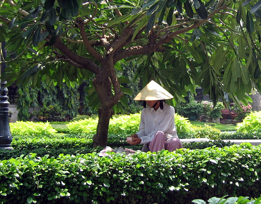Vietnamese lady in traditional sun hat having lunch in the garden park