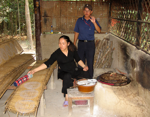 Rice paper making at the Cu Chi Tunnel complex