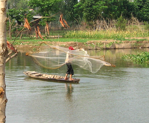 Casting a net from a sampan