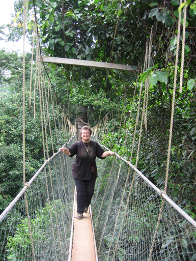 Jane on the canopy walkway