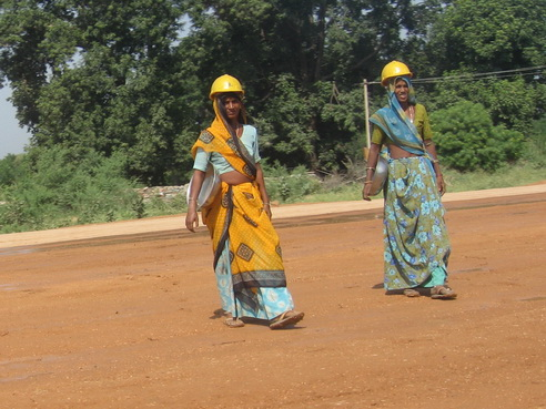 Women on the road construction gang