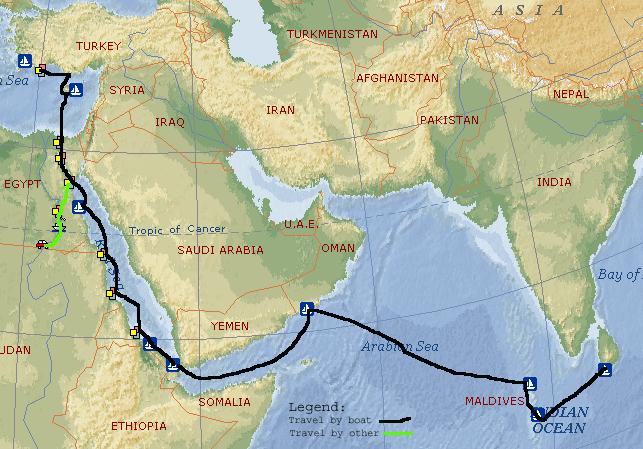 Map of the voyage from Turkey to Sri Lanka