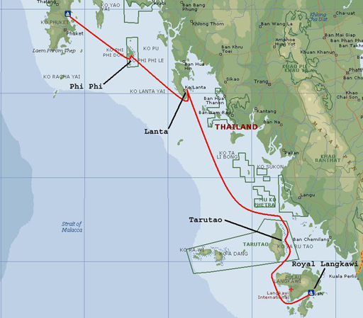 Chart of track from Phuket to Langkawi