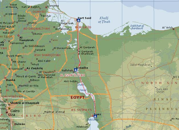Map of the Suez Canal