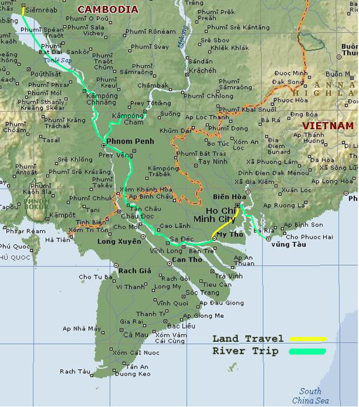 Map showing the route of the Mekong River trip
