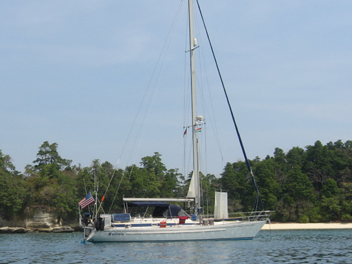 Callisto anchored in the Andaman Islands